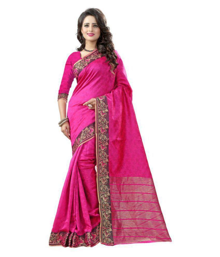 PANCHRATNA Pink Cotton Silk Saree