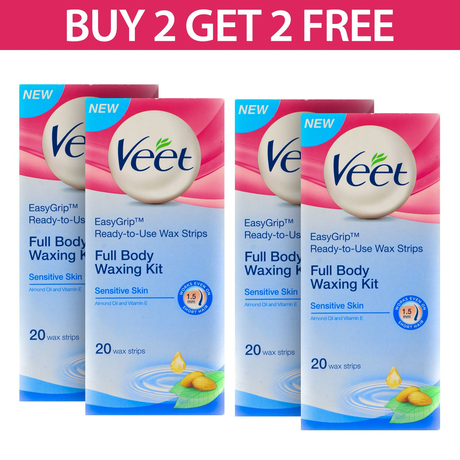 Veet Sensitive Wax Strips For 20 Pcs Pack Of 4 Buy Veet Sensitive