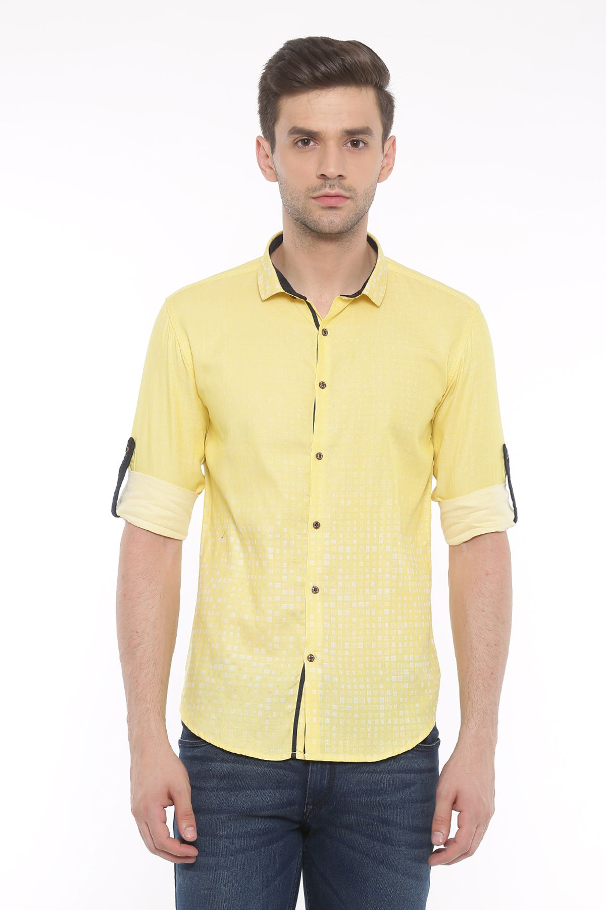 WITH Yellow Casual Slim Fit Shirt