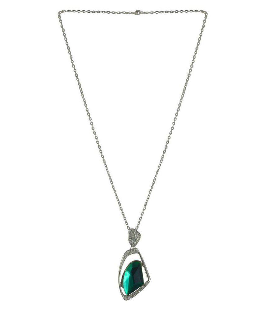 Rejewel Green Stone Pendant With Diamond Work