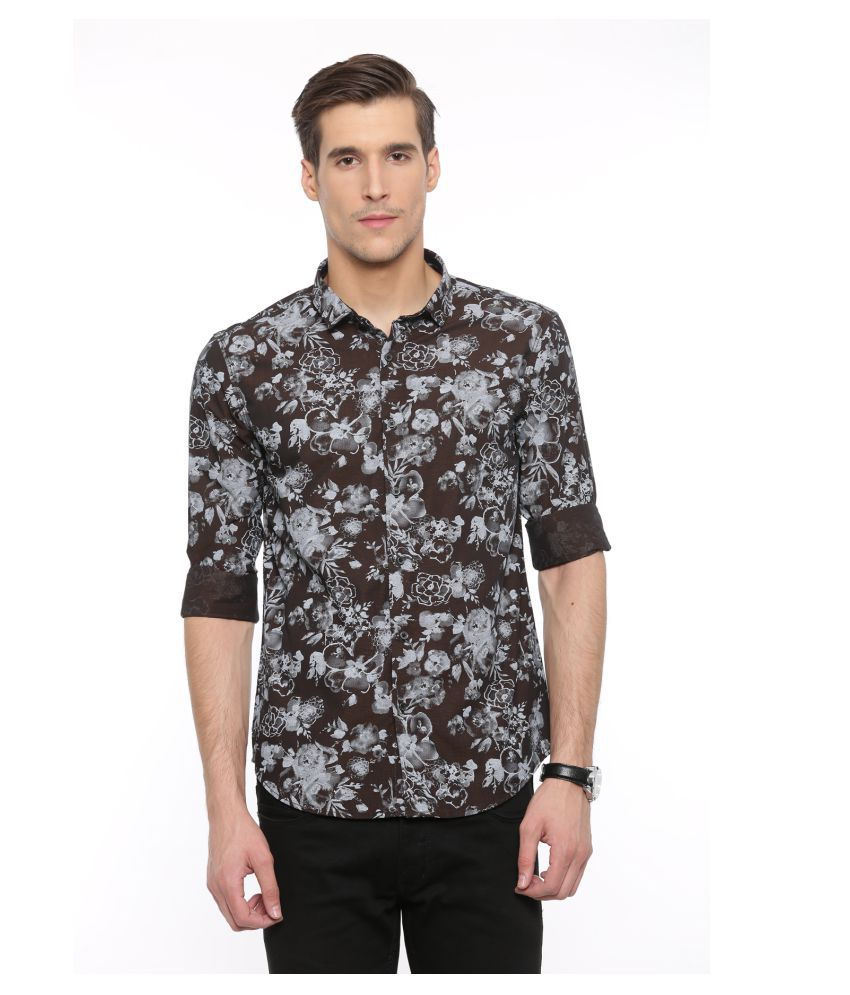 WITH Brown Casual Slim Fit Shirt