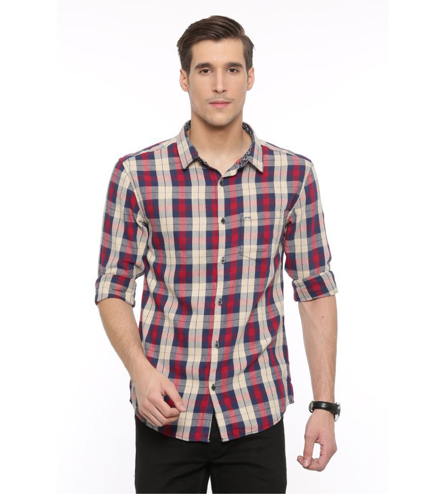 WITH Red Casual Slim Fit Shirt