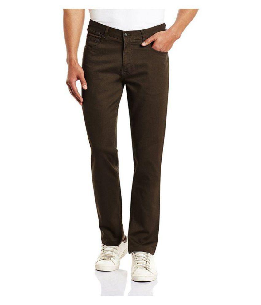 BLACKBERRYS Brown Regular -Fit Flat Trousers
