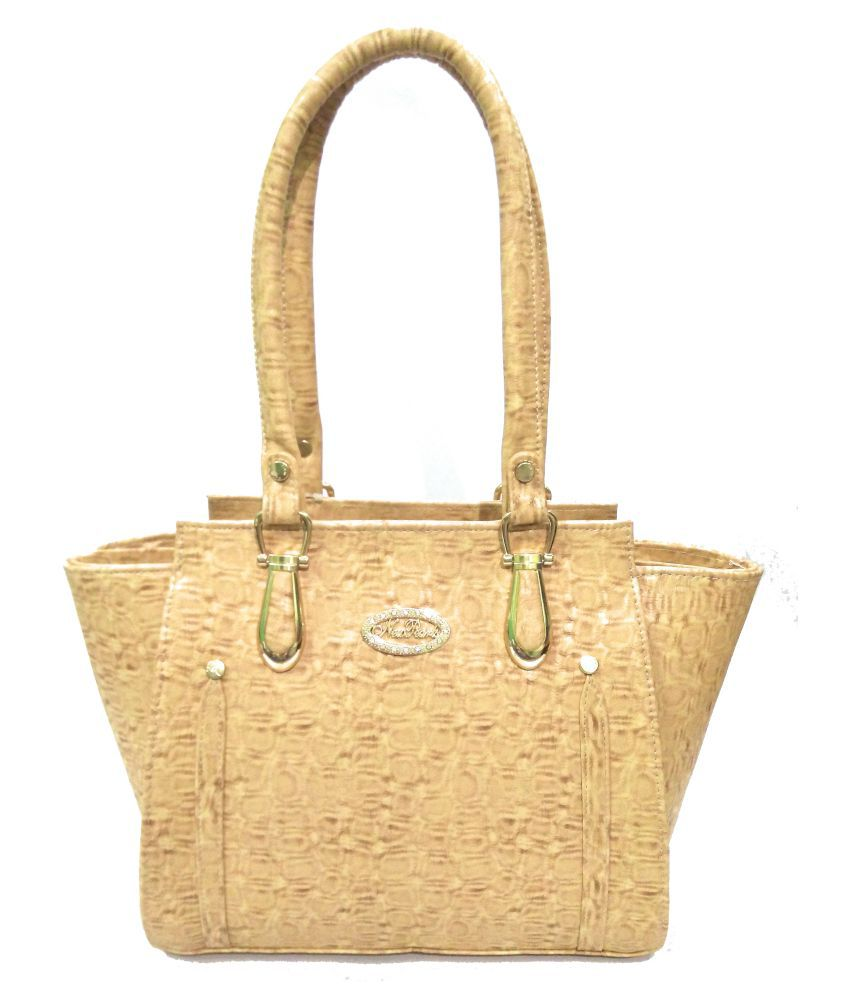 AZED Collections Beige Artificial Leather Shoulder Bag