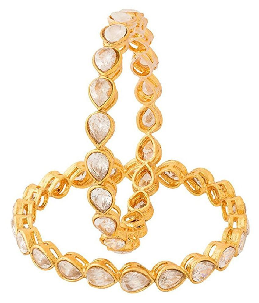 Aabhu Polki Studded Gold Plated Bangles Kada Bracelet Set Jewellery For Women And Girl