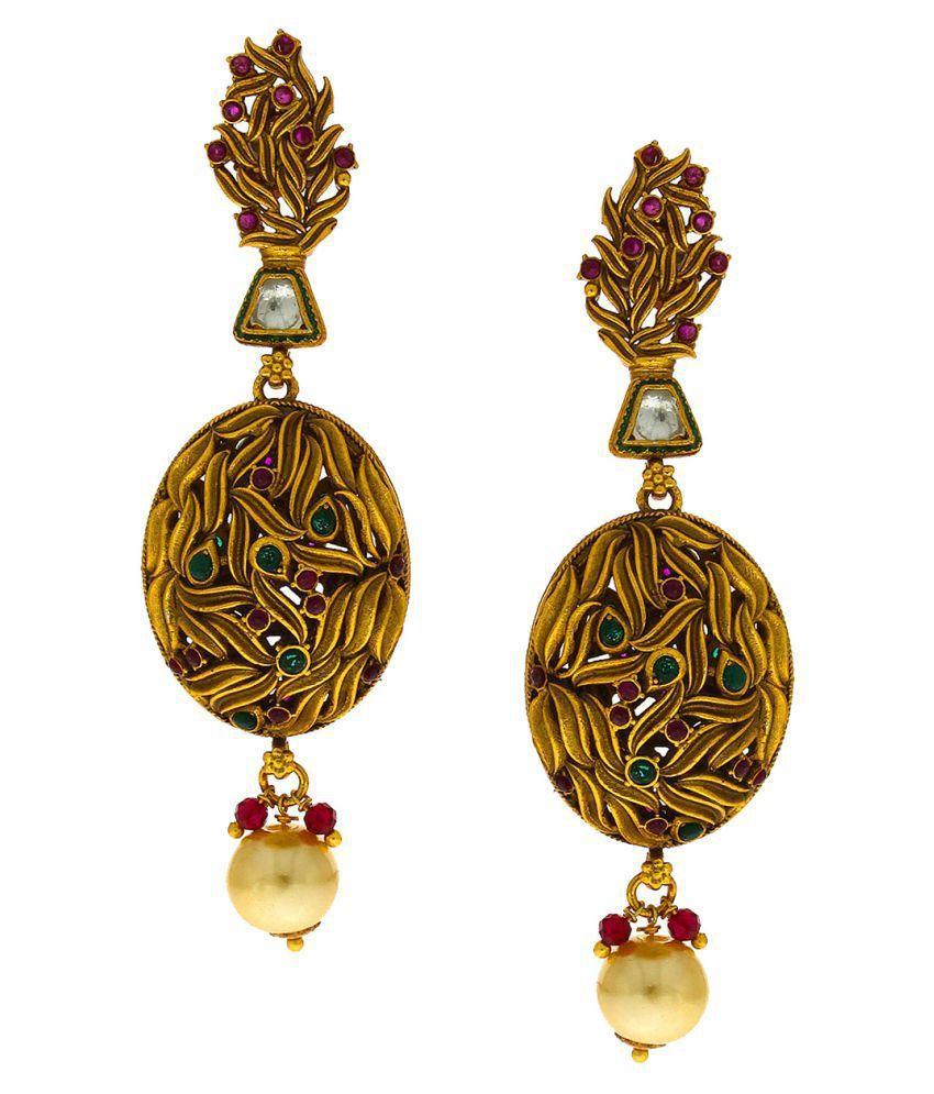 Anuradha Art Golden Finish Designer Studded Stone Classy Traditional Earrings For Women/Girls