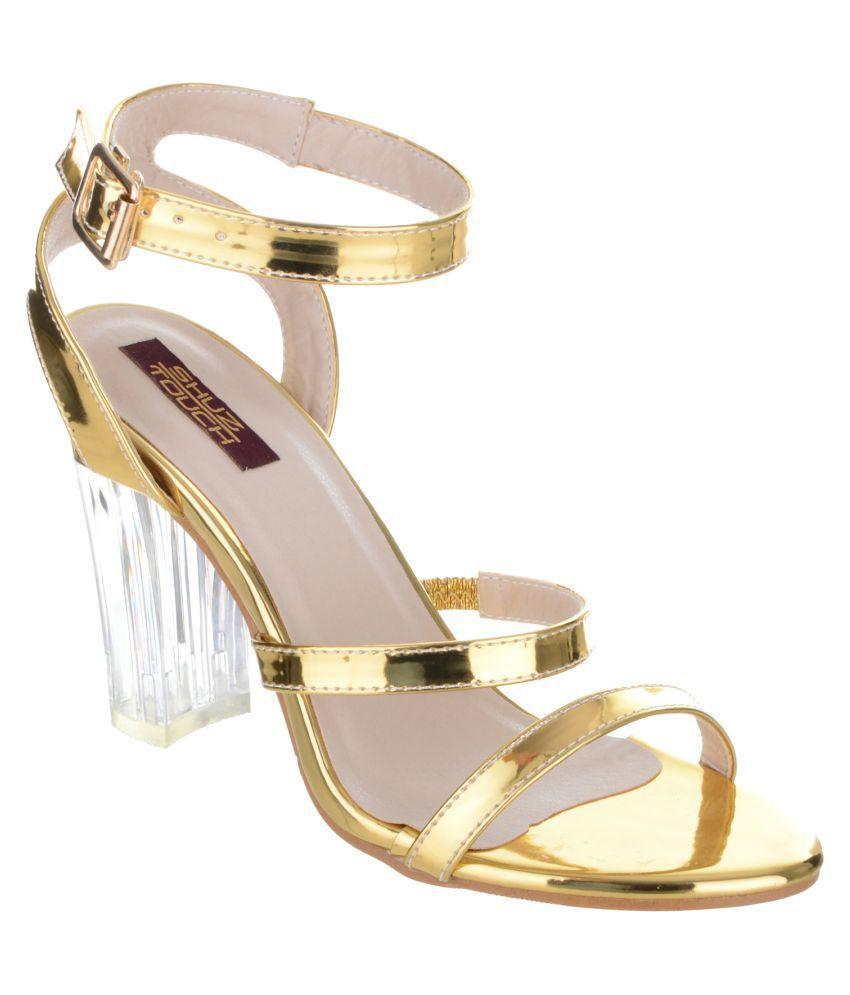 SHUZ TOUCH Gold Block Heels