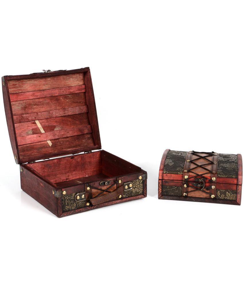 Traje Maroon Wood Decorative Box - Pack of 2