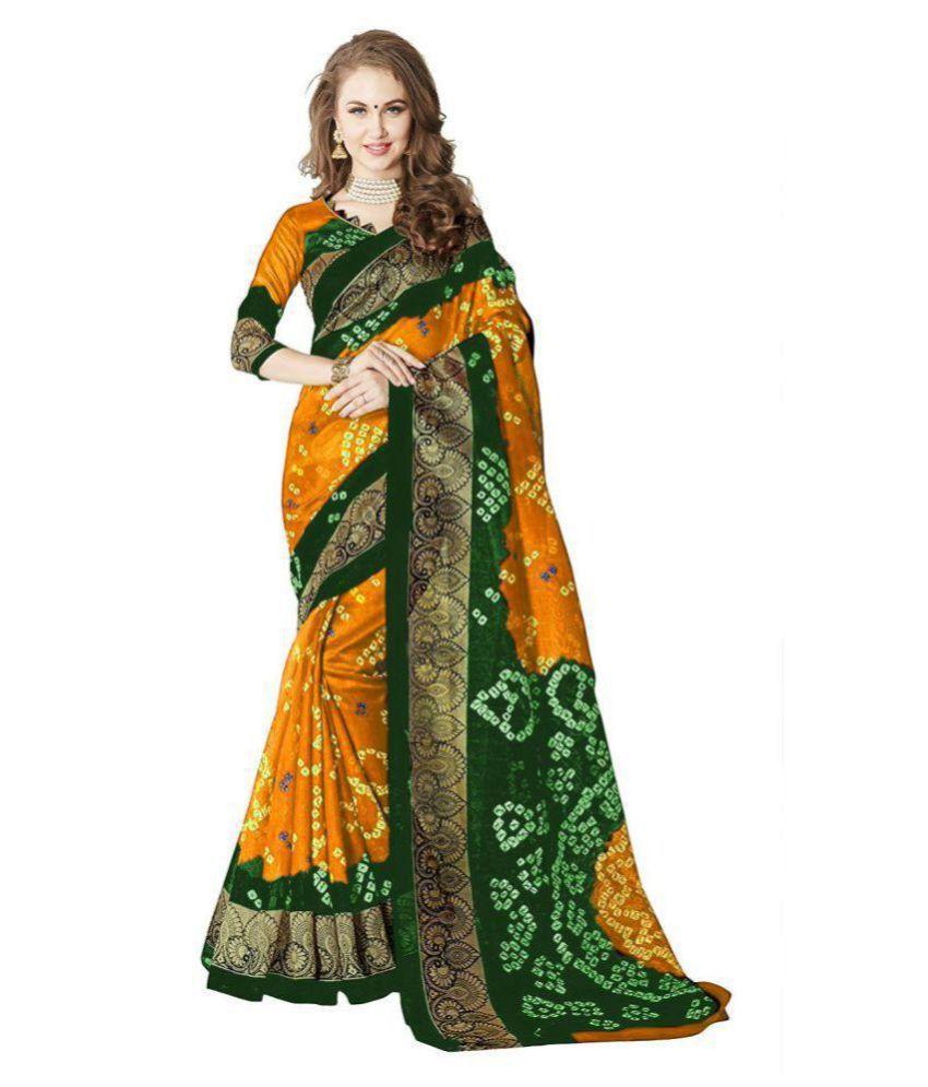 Fashion and Hub Yellow Bhagalpuri Silk Saree