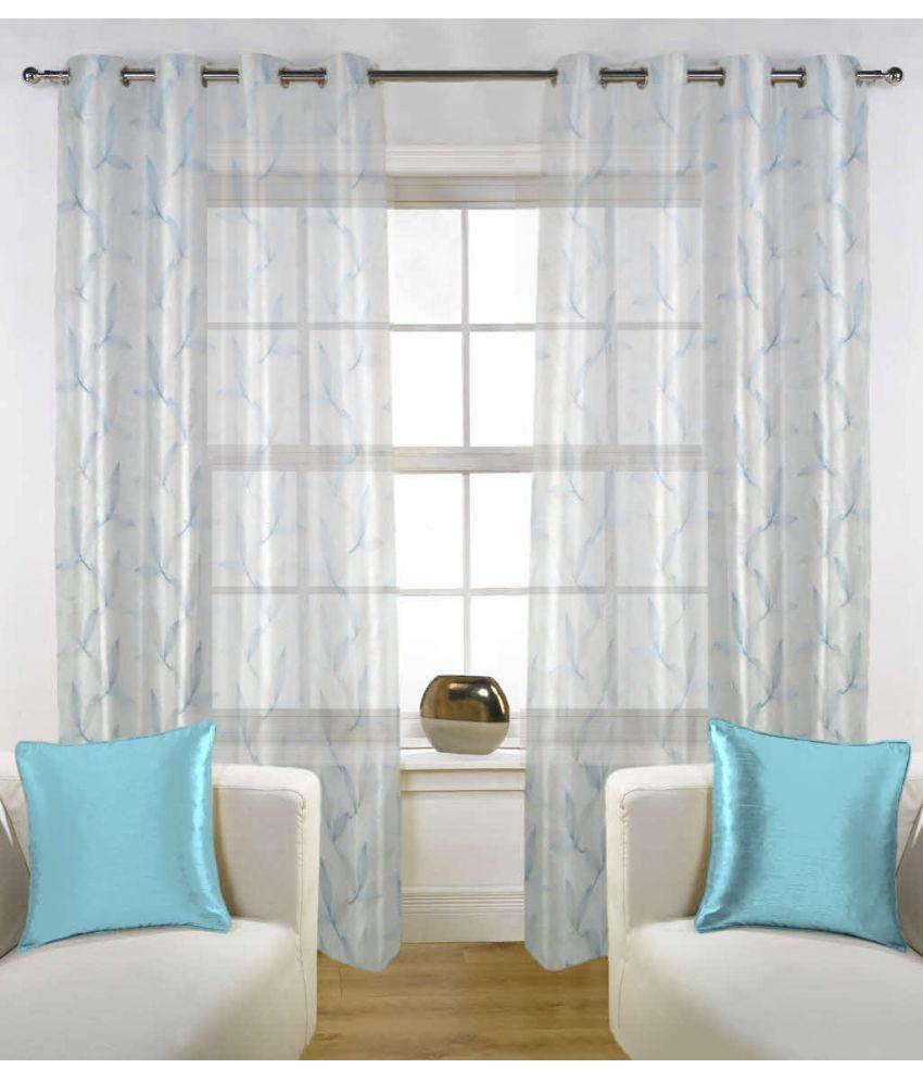 Fabutex Set of 2 Door Eyelet Curtains Floral Blue