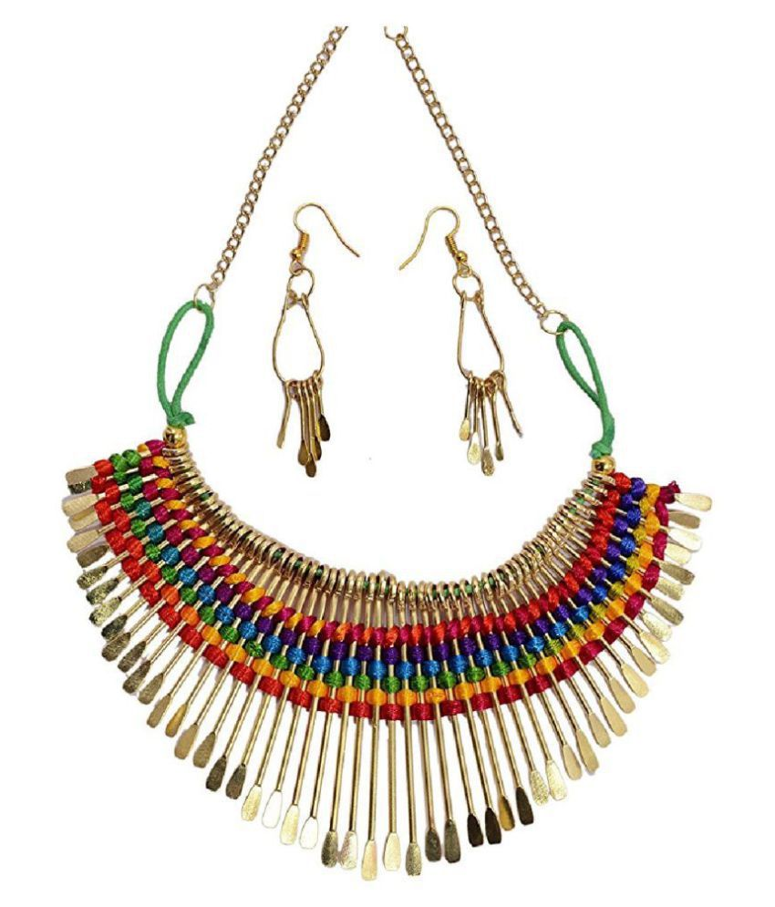 Aabhu Gold Plated Handmade Funky Thread Choker Necklace Jewellery Set With Earring For Women And Girls