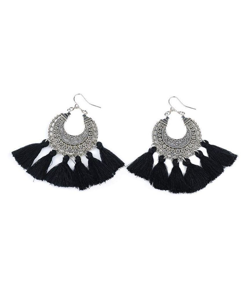 Aashya Mayro Antique design German Silver Plating Soft Cotton Thread Tassel ChandBali Earring For Women Girls