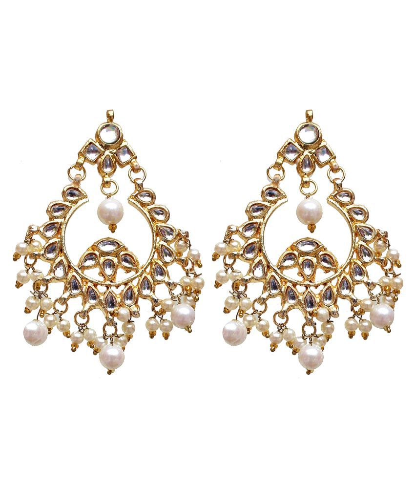 Lucky Jewellery Designer White Color Gold Plating Kundan Earring For Girls & Women
