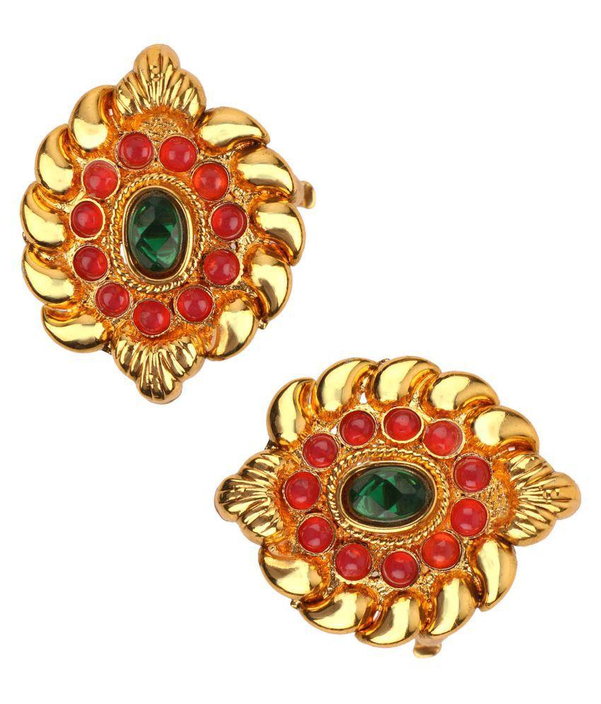 Adiva Bichiya Metti Maroon Green Copper Adjustable Leg Jewellery Toe Ring for Women