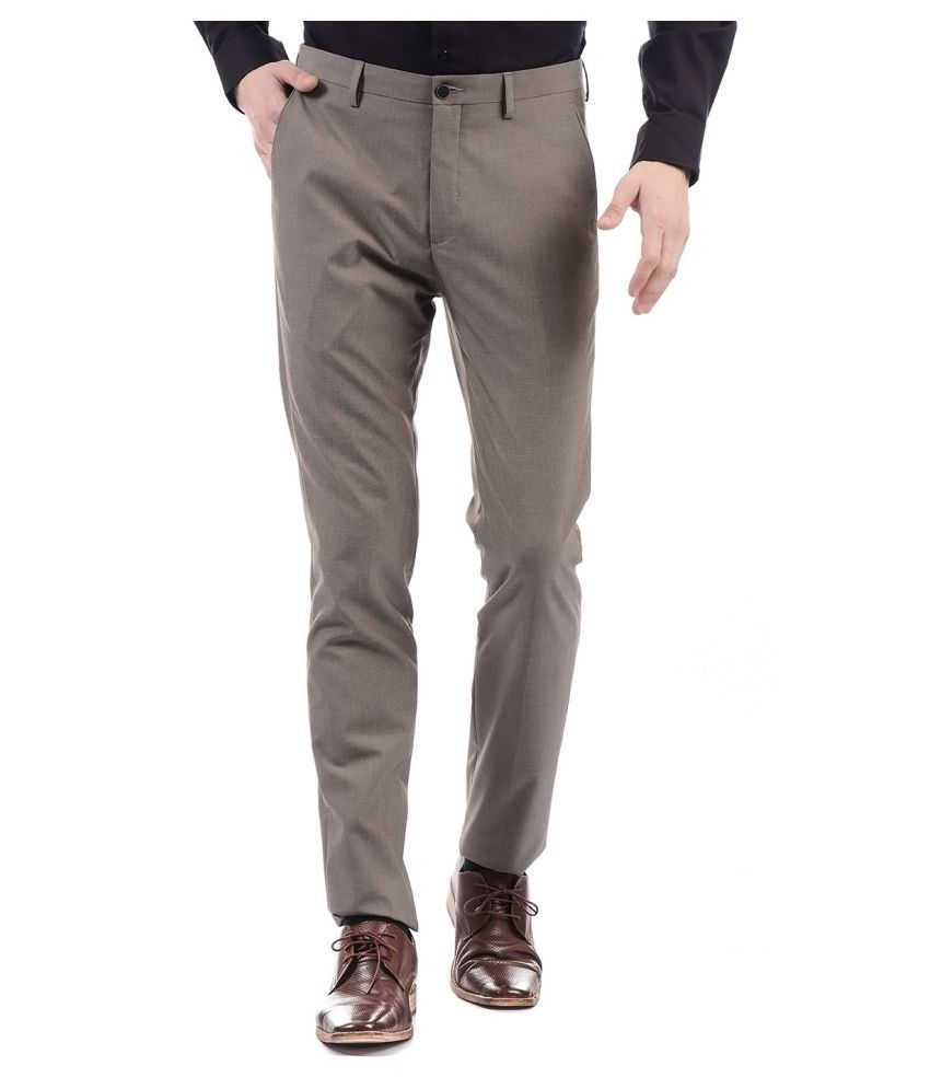 Arrow Brown Regular -Fit Flat Trousers
