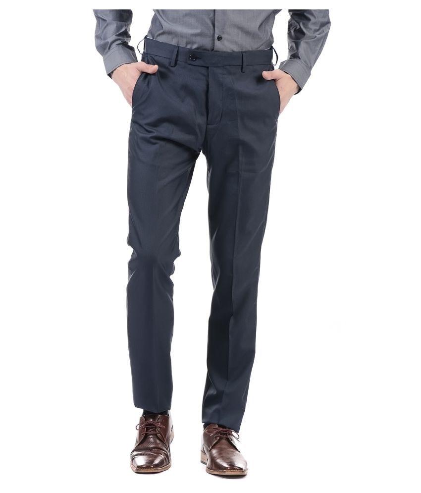 Arrow Dark Blue Slim -Fit Flat Trousers