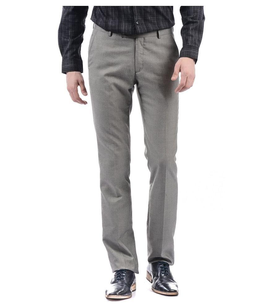 Arrow Grey Regular -Fit Flat Trousers