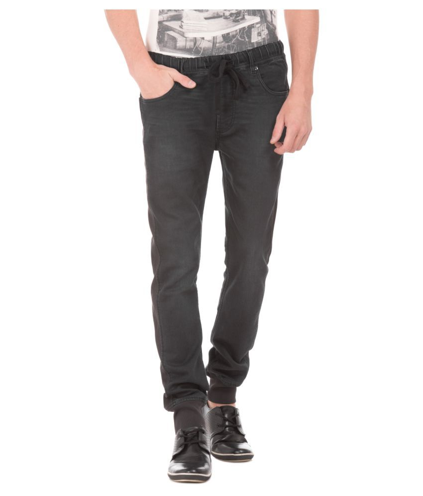 Flying Machine Black Regular Fit Jeans