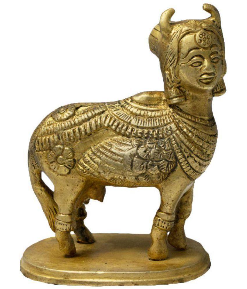 JY Kamdhenu Cow Brass Idol