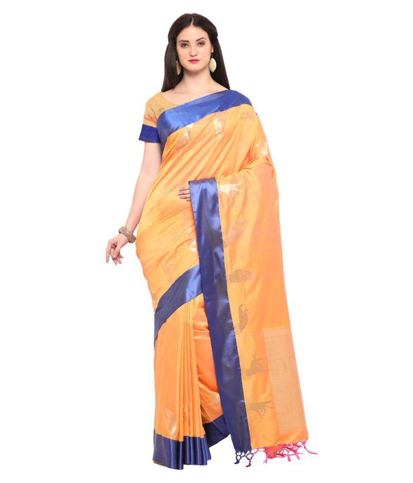 Varkala Silk Sarees Orange Silk Saree