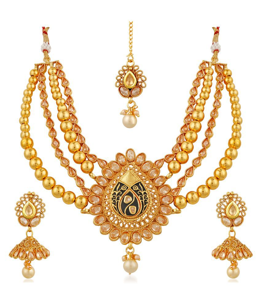 Apara copper Multistrand Kundan Necklace Maang Tikka For Women