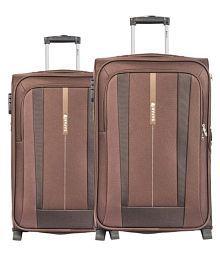 Safari Brown M( Between 61cm-69cm) Check-in Soft Safari REVV 2W 55/65 BROW combo of 2 Luggage