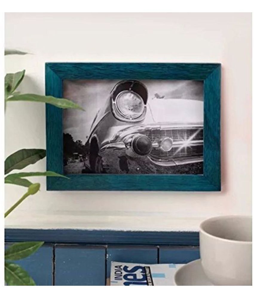 Onlineshoppee Wood Wall Hanging Blue Single Photo Frame - Pack of 1