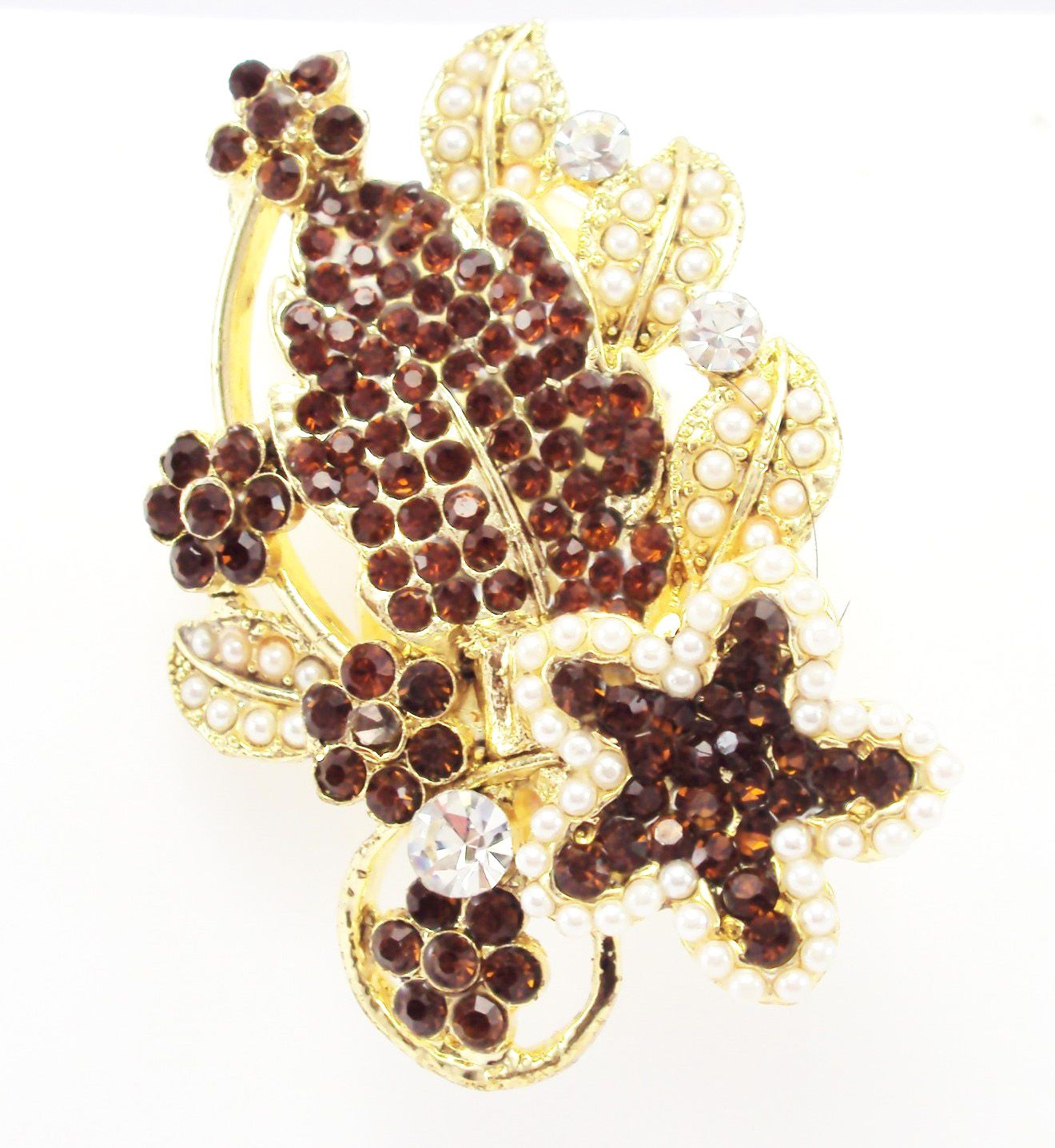 Designer Saree Pin & Brooch, Light Brown Color Stone and Moti Stud, Gold  Tone, For Men & Women Both