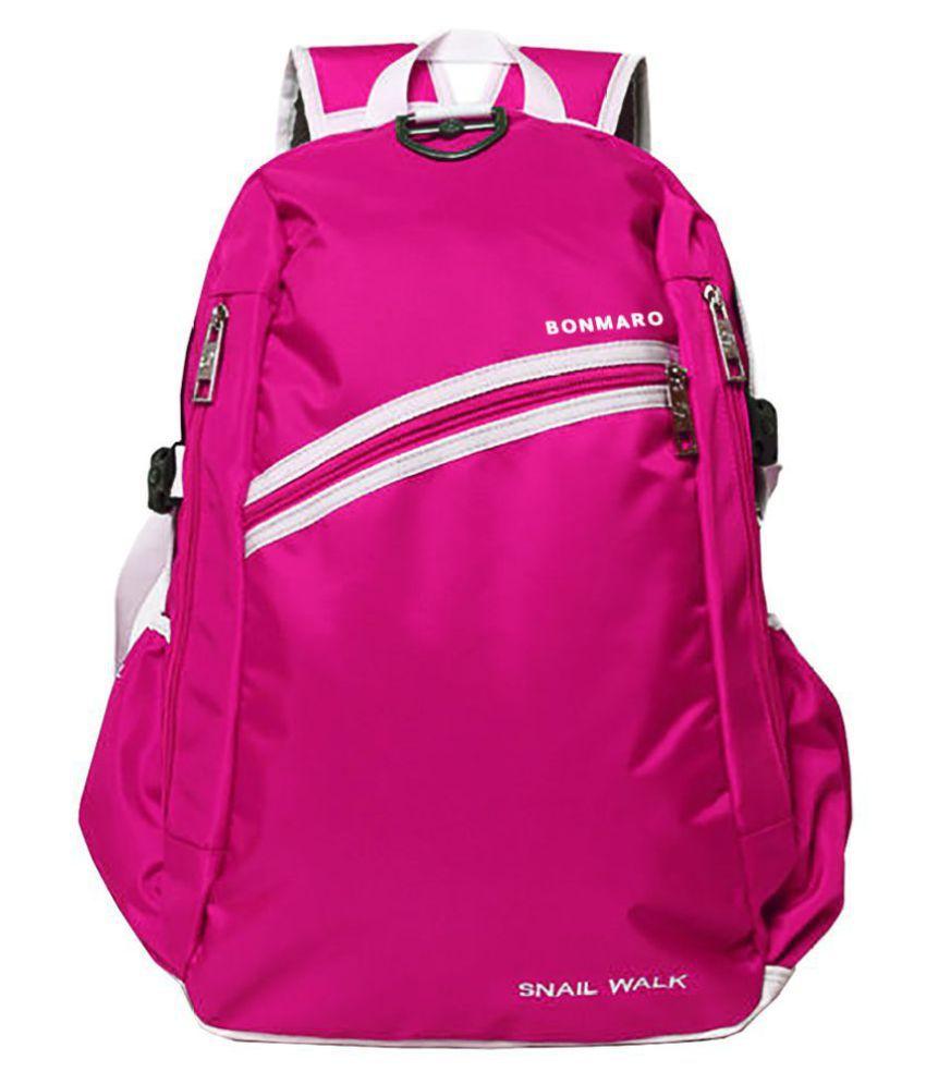 660aef0788b0 Bonmaro Pink Polyester College Bag Bonmaro Pink Polyester College Bag ...