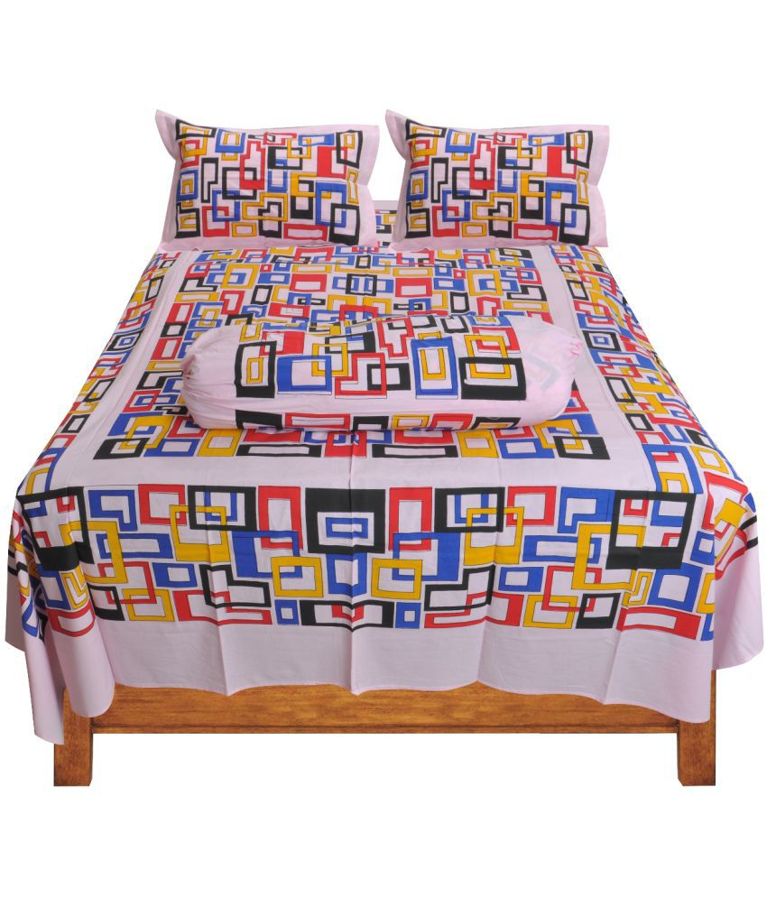 Loom&Crafts Cotton Double Bedsheet with 2 Pillow Covers