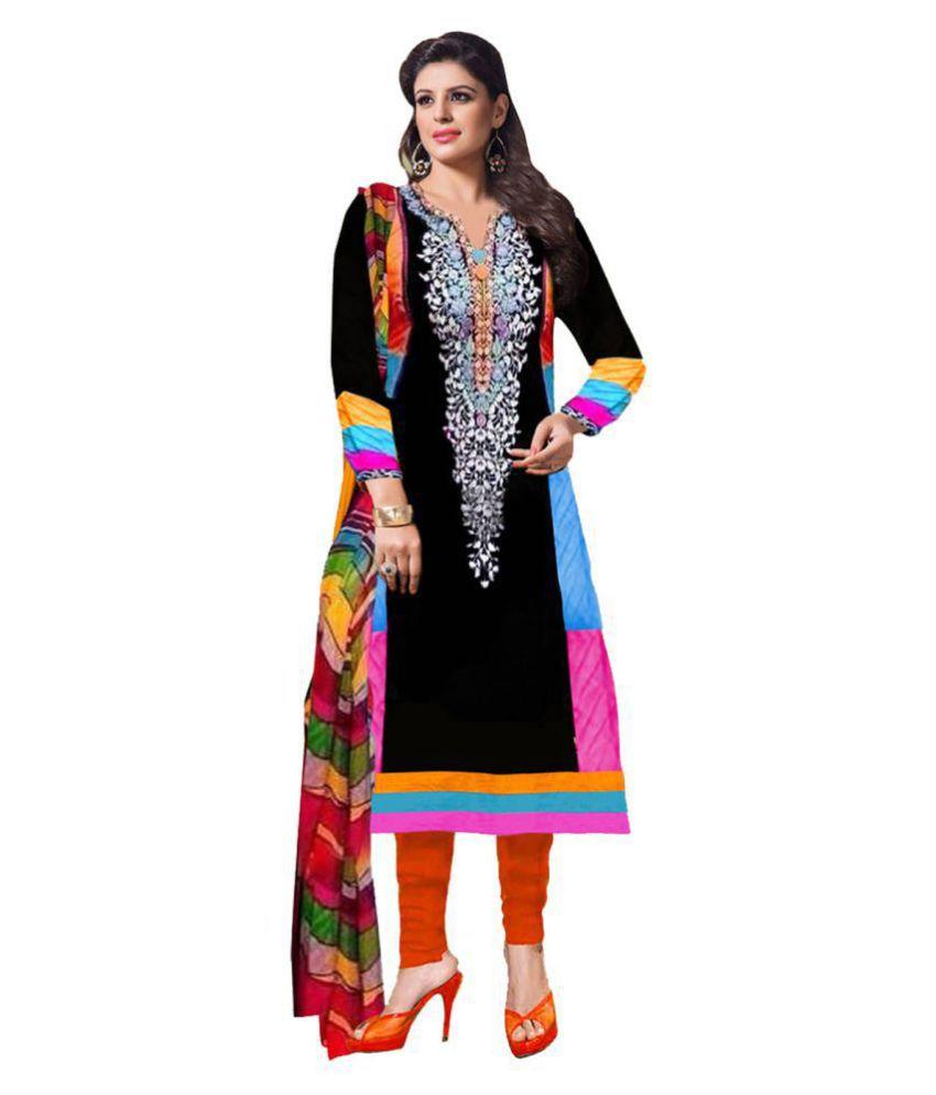 Pricebet Black Cotton Dress Material