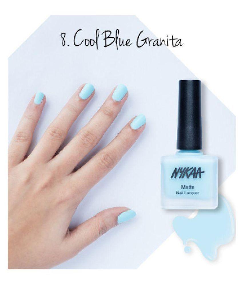Nykaa Chrome Nail Polish Review: Nykaa Nail Polish Matte Cool Blue Granita-17 (9) Ml: Buy