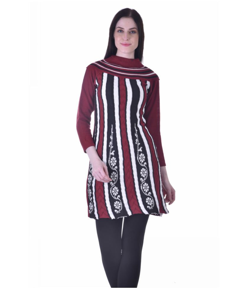 RBTRADERS Multicoloured Woollen Straight Kurti