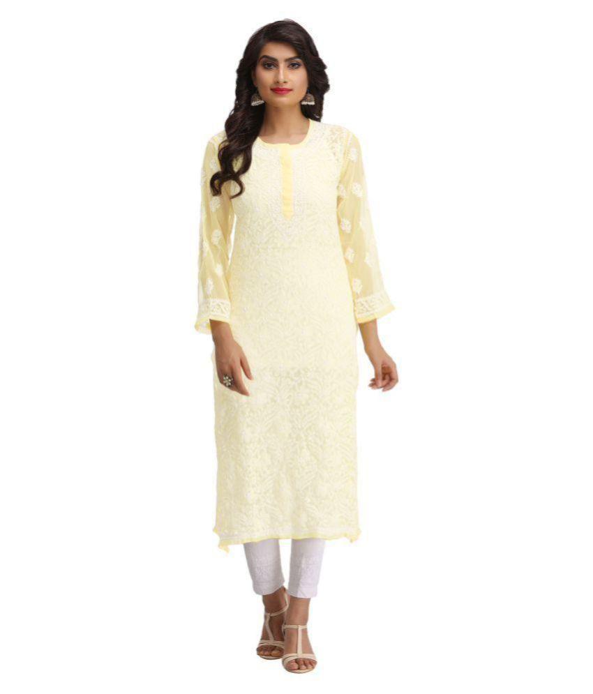Ada Yellow Georgette Straight Lucknow Chikan Kurti