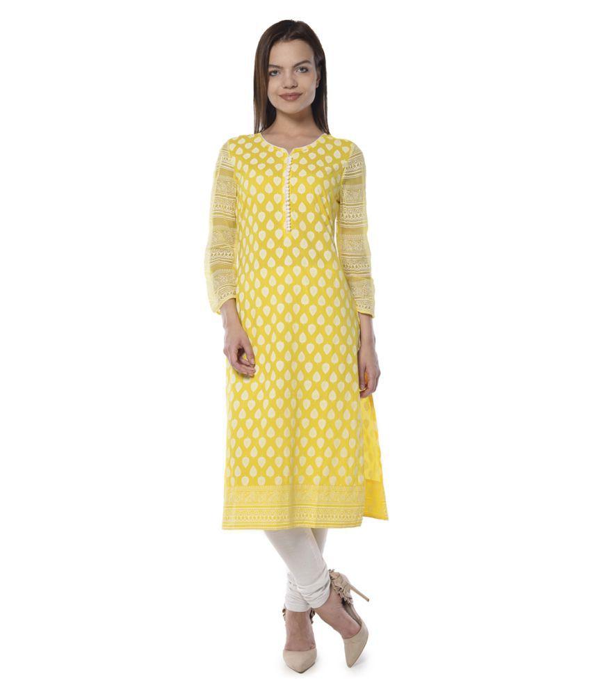 Vedic Yellow Cotton A-line Kurti