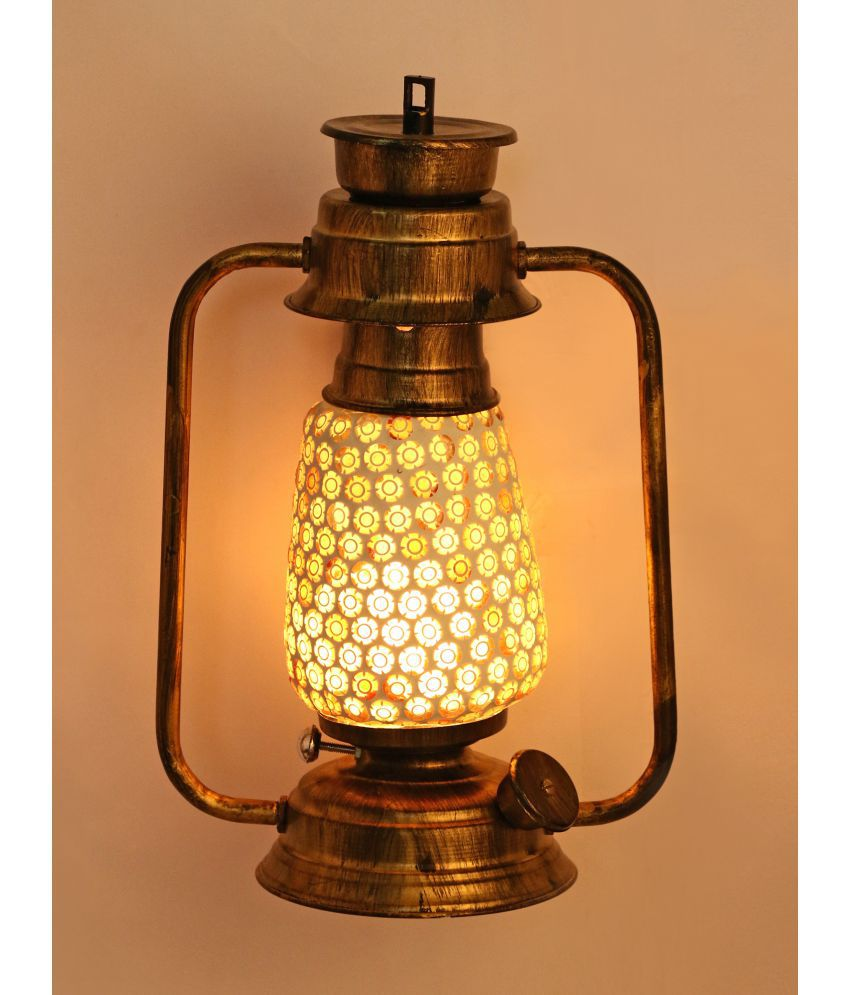 Somil Wall Mount Lantern With Glass Hand Decorated With Colorful Articles For Special Lighting Effects A7 Table Top Lanterns 31 - Pack of 1