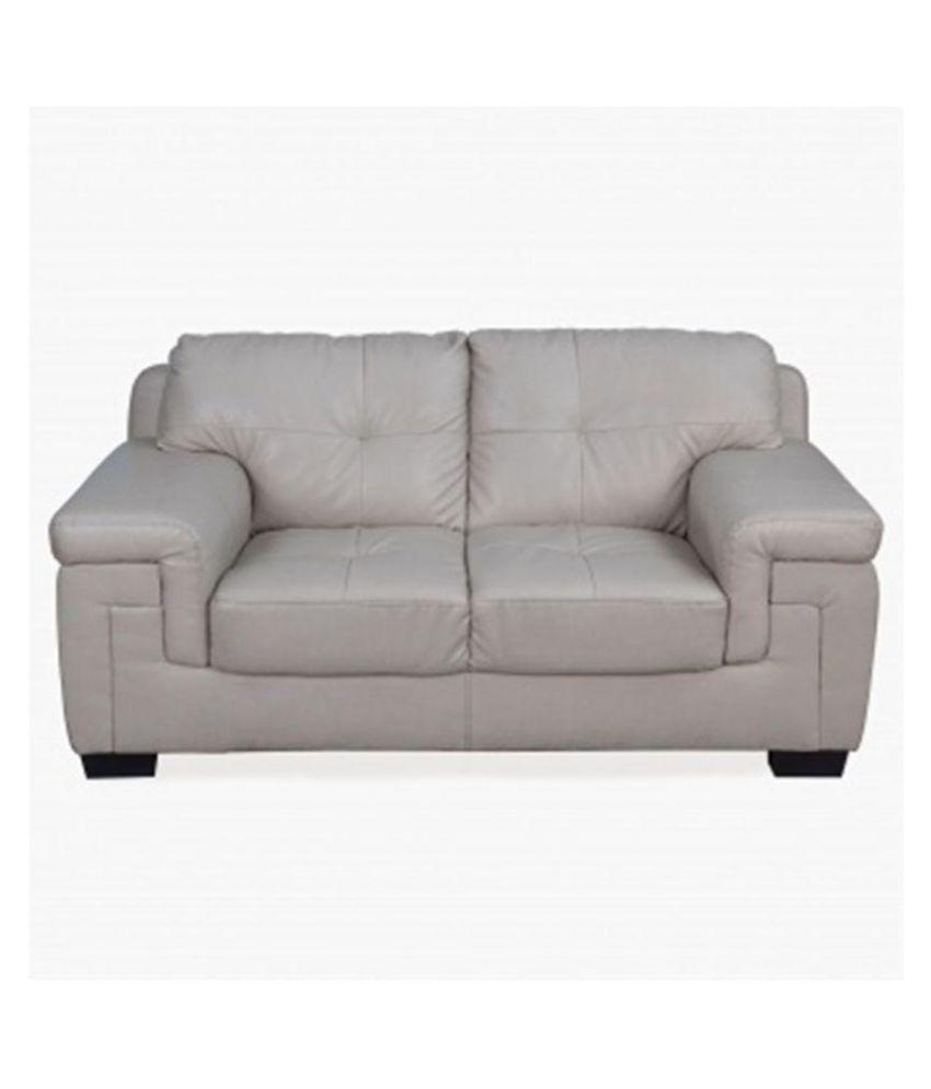 E Interior Beige Faux Leather 2 Seater Sofa