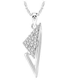 VK Jewels Well Crafted Rhodium Plated Alloy CZ American Diamond Pendant with Chain for Women [VKP2742R]