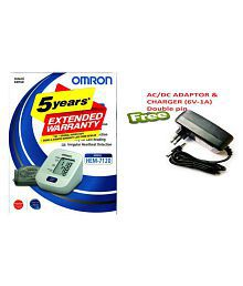 Omron Digital BP Monitor With HEM-7120 Adaptor & Charger (6V-1A) DOUBLE PIN