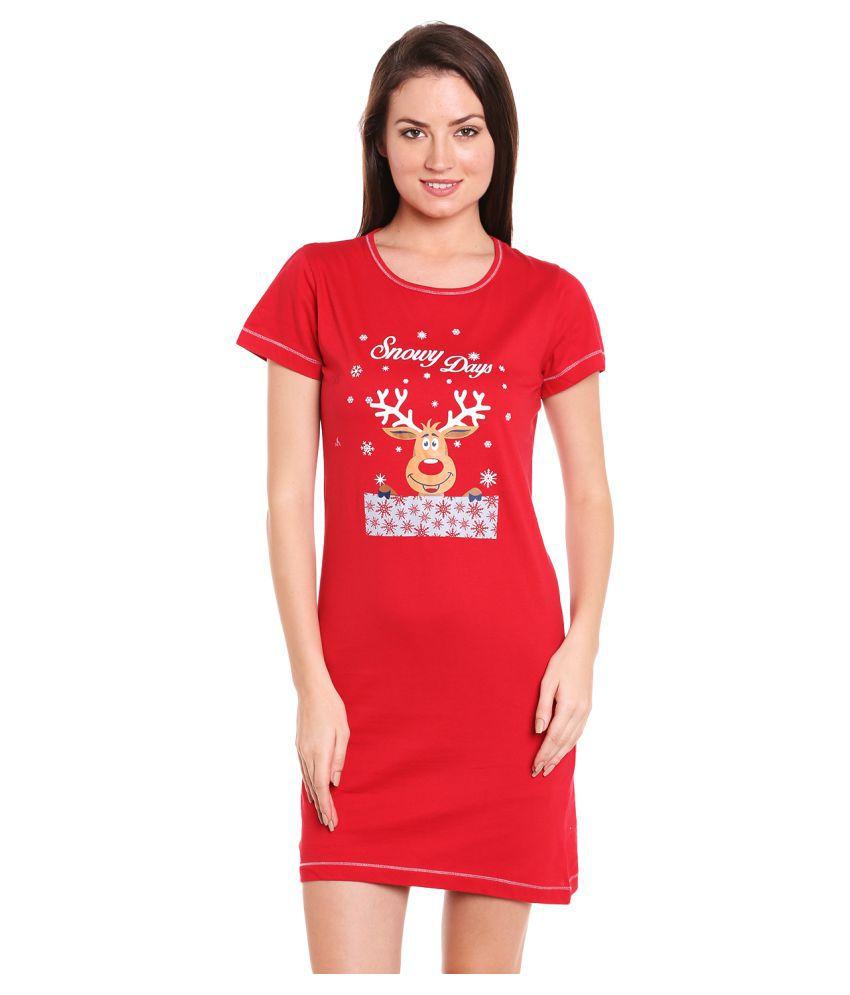 Lazy Dazy Cotton Night Shirts - Red