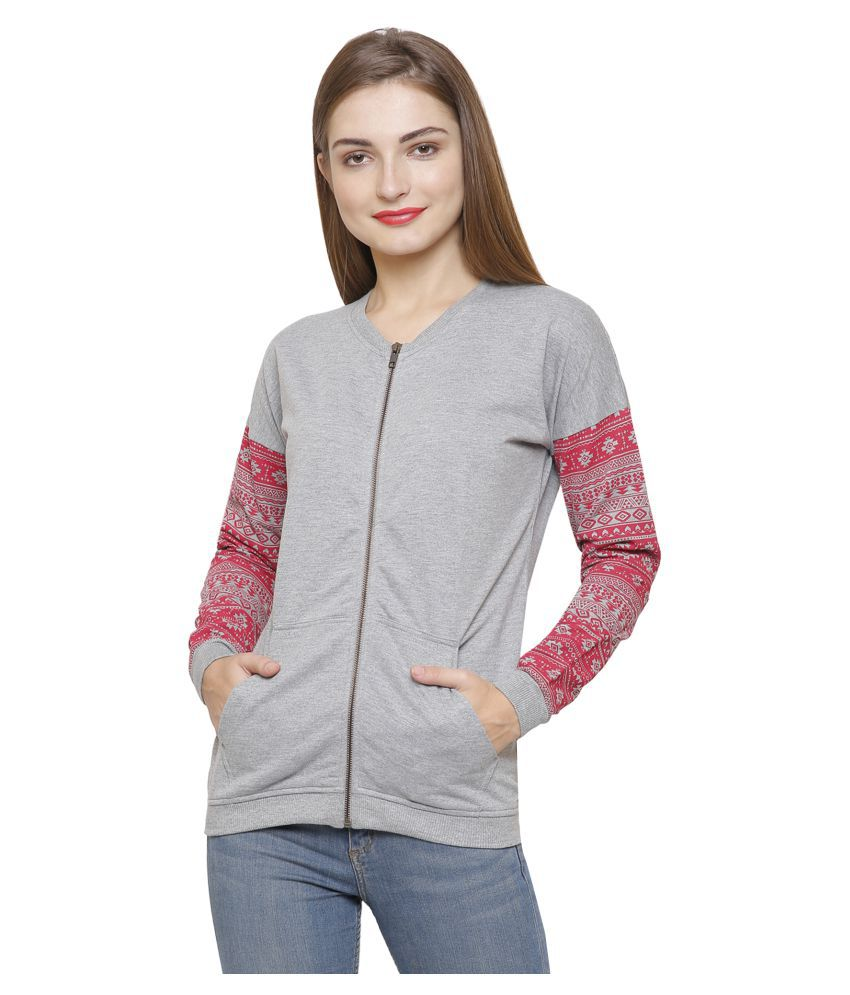 Maggivox Cotton Grey Zippered Sweatshirt