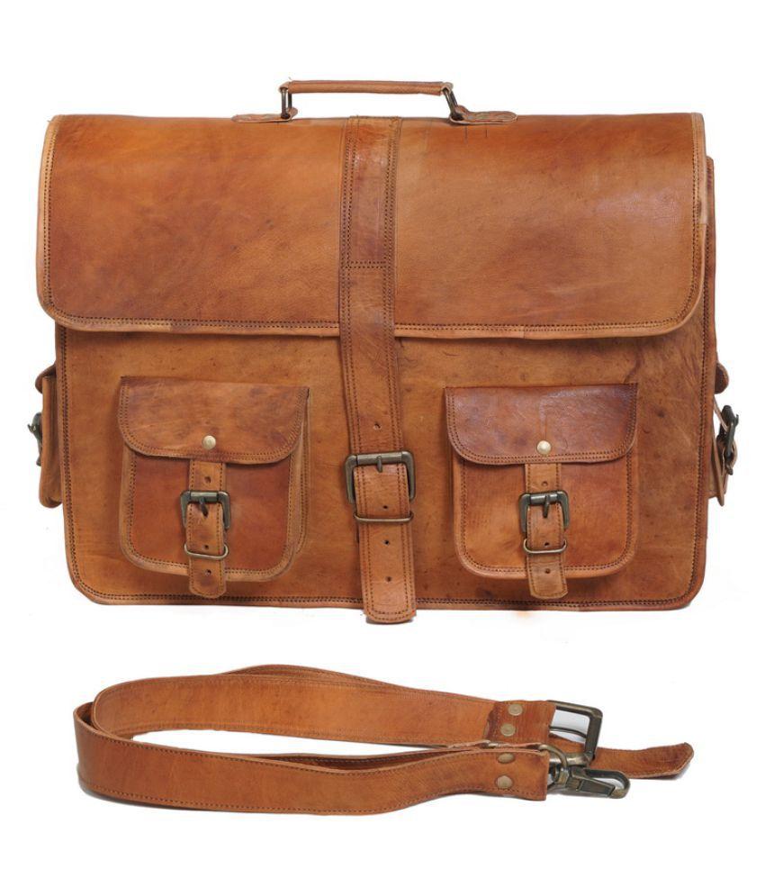 Anshika International vintage leather laptop office bag Brown Leather Office Bag