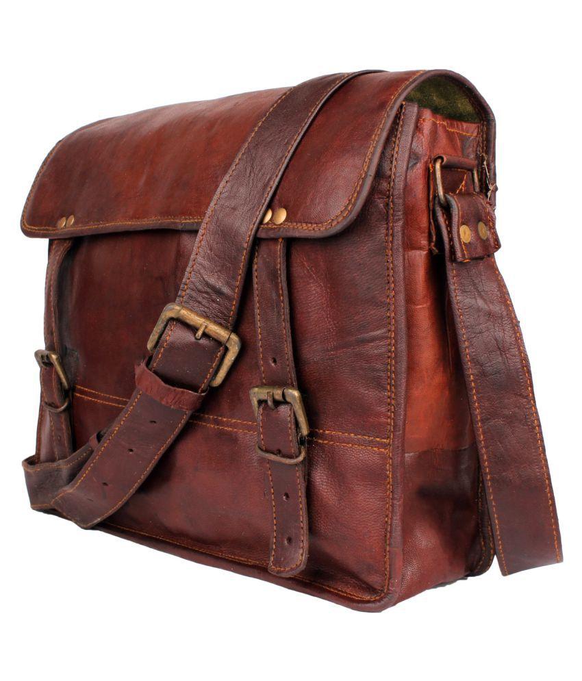 Anshika International vintage leather laptop messenger bag Brown Leather Office Messenger Bag