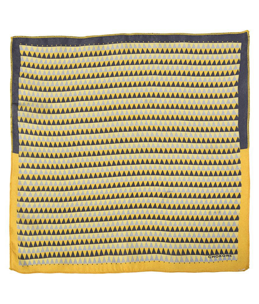 Chokore Tangerine & Grey Silk Pocket Square From The Plaids Line