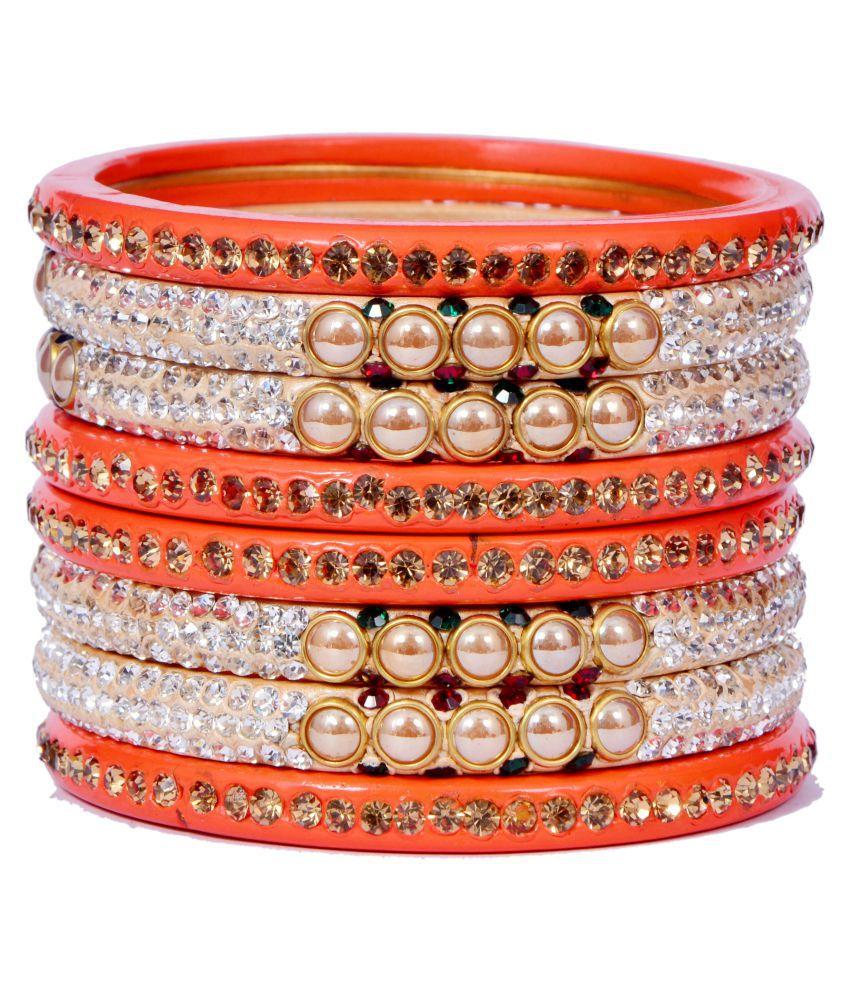Dulari Stone & Pearl Embellished Orange Lac Round Bangles For Women (Set of 8 Bangles)