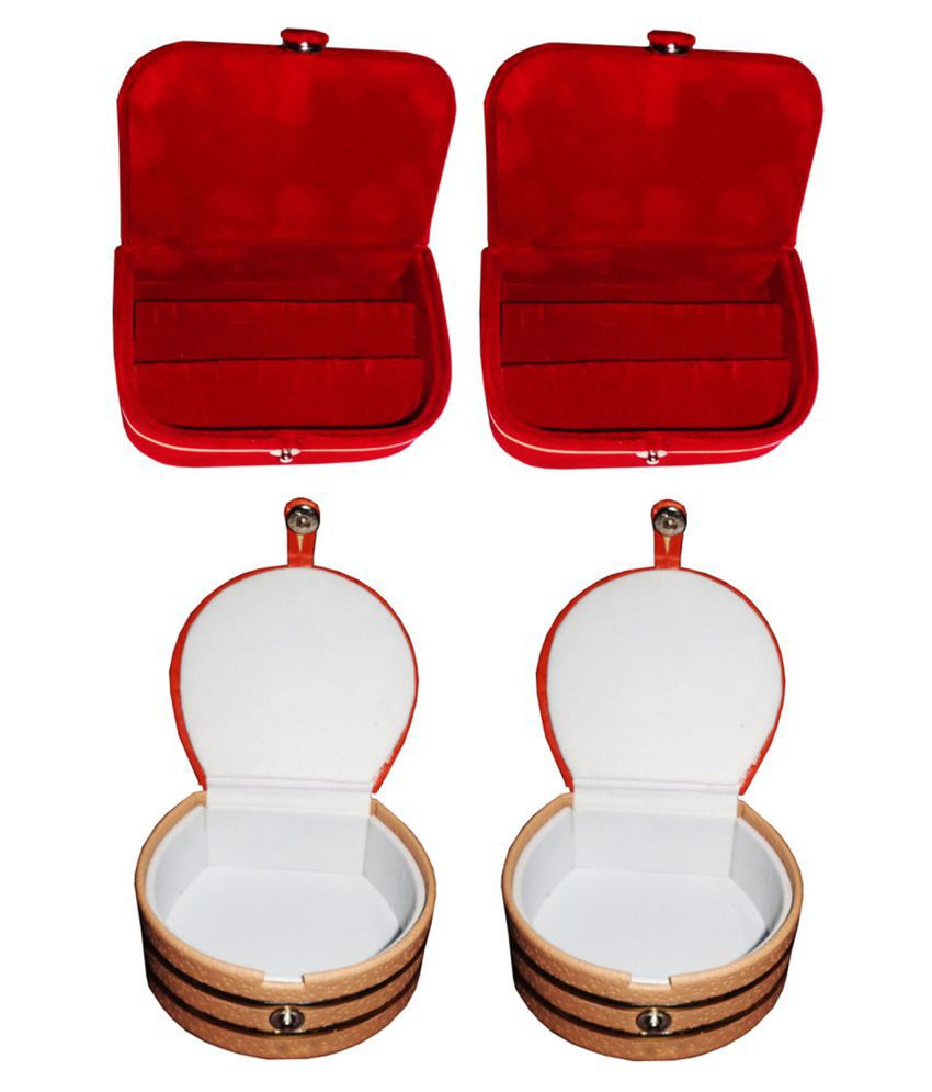 Afrose Combo 2 pc red ear ring box and 2 pc bangle box jewelry vanity case