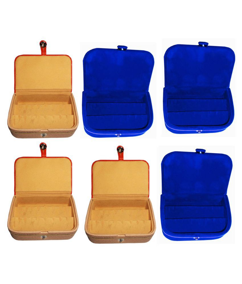 Afrose Combo 3 pc  earring box and 3 pc blue ear ring folder vanity case