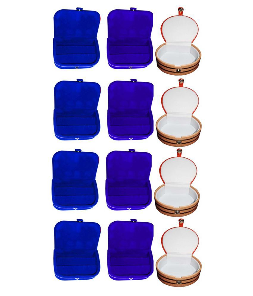 Afrose Combo 4 pc blue earring box 4 pc blue ear ring folder 4 pc bangle box jewelry vanity case