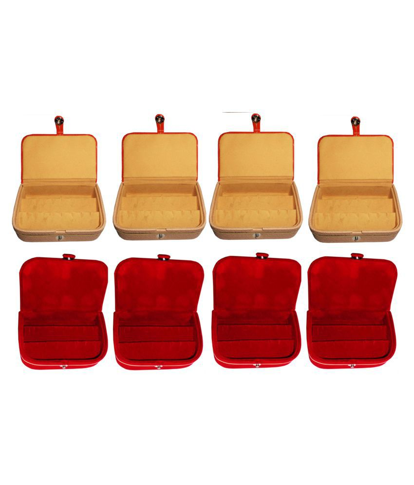 Afrose Combo 4 pc red earring box and 4 pc brown ear ring folder vanity case