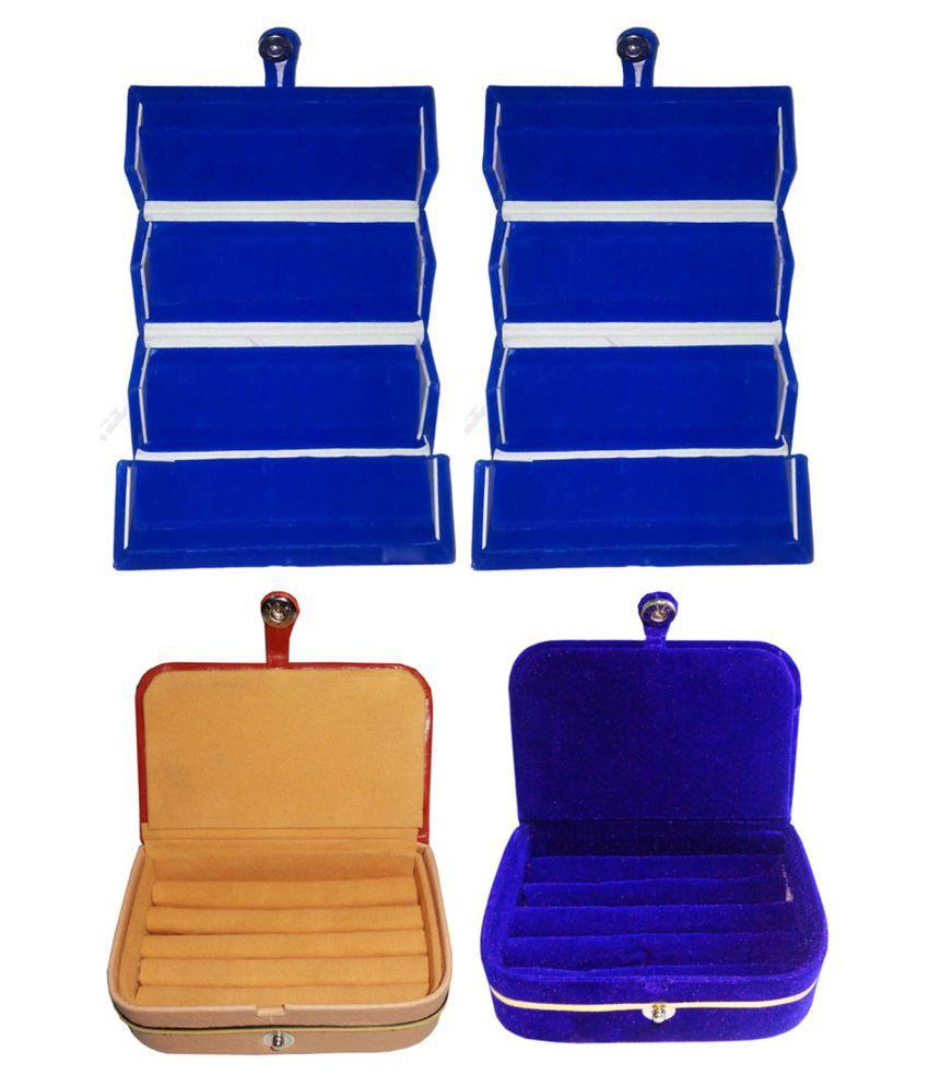 Sabita Combo 2 pc blue earring folder 1 pc ring box and 1 pc blue ear ring box jewelry vanity box